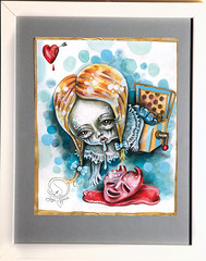 'Heart Stopper Popper' Angie Mason 2013 (Angie Mason) Tags: cute broken girl loss paper toy artwork sad heart mixedmedia creepy surprise painitng angiemason