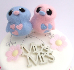 pastel weddings 002 (feltmeupdesigns) Tags: wedding bird birds cake pastels toppers topper needlefelt needlefelted feltmeupdesigns blueandyellowwedding pastelweddings