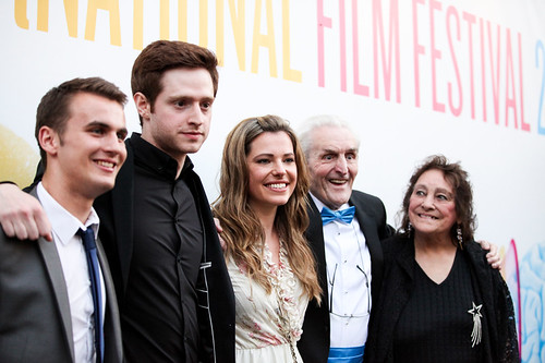 Patrick Wallace, Andrew Rothney, Scarlett Mack, Norman MacLean and Sheila Stewart at the photocall for Blackbird outside the Filmhouse