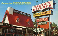 Santa's Kitchen & Reindeer Room, Santa Barbara, California (SwellMap) Tags: road tourism monument playground statue architecture vintage advertising design weird pc 60s highway fifties postcard suburbia style kitsch tourist retro nostalgia chrome freeway amusementpark americana rides 50s publicart unusual tacky roadside roadsideattraction googie populuxe themepark sixties touristattraction babyboomer consumer coldwar midcentury spaceage atomicage publicmonument