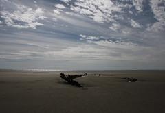 Shipwreck and big sky. (aitch tee) Tags: sky beach weather clouds seaside sand view shipwreck bigsky pembrey cefnsidarbeach