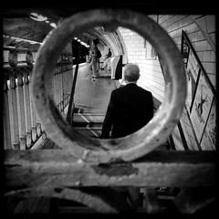 Encircled (Pascal M) Tags: street blackandwhite bw paris france circle subway square blackwhite metro candid streetphotography unposed