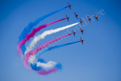 The Red Arrows at RIAT 2013 (GeorginaGodfree) Tags: blue red sky white photography flying pretty colours aviation smoke may formation planes arrows british raf pilots georgina riat godfree