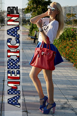American Girl (Doll Actitud) Tags: street blue red summer white sunglasses fashion silver reflections blog outfit style skirt blogger casual sunnies birkin jeffreycampbell blythelifestyle