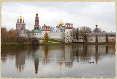Russia, Moscow, Novodevichy convent (Dmitry Stebnev) Tags: autumn sky cloud white house lake tree bird love beauty grass rain wall canon eos gold duck peace cross bell russia earth moscow vibrant magic faith dream belltower holy dome thechurch thecathedral 650d themonk vetet