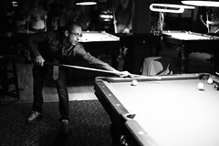 304/365 (local paparazzi (isthmusportrait.com)) Tags: white black game detail pool bar contrast brewing ball dark table eos 50mm prime glasses blurry pod eyes lowlight pub downtown shadows dof cue bokeh f14 watching grain shaved drinking balls floating tie competition blurred highlights greatdane outoffocus brewery handheld eightball billiards lamps shallow usm madisonwi grainy stool curve noise cleancut rims spectacles pooltable barstool onlookers oof autofocus intention bartime isthmus noisey halloweennight iso6400 2013 50mmf14usm 365project danecountywisconsin photoshopelements7 canon5dmarkii pse7 localpaparazzi redskyrocketman lopaps