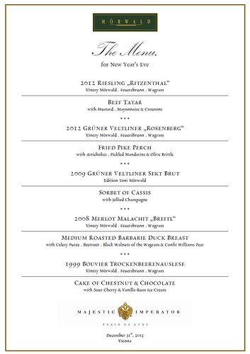 Majestic Train de Luxe new yea- menu for New Year's Eve 2013