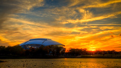 Sunset over the Stadium (Ian Aberle) Tags: autumn sunset fall clouds arlington dallas day texas unitedstates cloudy hdr lightroom 3xp photomatix autumnsunset tonemapped 2013 canonef24105mmf4lisusm 2ev tthdr attstadium cowboysstadium realistichdr detailsenhancer camera:make=canon exif:make=canon exif:iso_speed=100 exif:focal_length=28mm geo:state=texas canoneos7d geo:countrys=unit