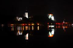 Lake Bled (zkbld) Tags: lake reflection castle night island lights mirror nikon slovenia bled slovenija grad otok jezero d5100