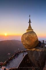 Sunset at Kyaiktiyo Pagoda (Golden Rock), Myanmar (Noom HH) Tags: travel sunset sky sun beautiful rock temple golden pagoda burma buddhist belief myanmar kyaiktiyo goldenrock 2013 kyaiktiyopagoda