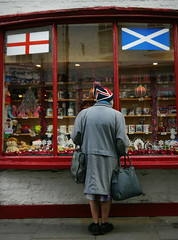 better together? (yorktone) Tags: blue red england woman white english hat saint st shop by shopping scotland ginger democracy george lyrics do looking you no yes candid flag south politics union north streetphotography scottish andrew flags prison what whether proclaimers independence vote unionist re