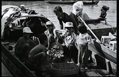 B&W Mekong River Scene 4 (marcwiz2012) Tags: people blackandwhite rural river asia delta scan vietnam local mekong localpeople chaudoc