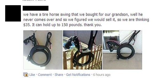we have a tire horse swing that we bought for our grandson, well he never comes over and so we figured we would sell it, so we are thinking $35. It can hold up to 150 pounds. thank you.