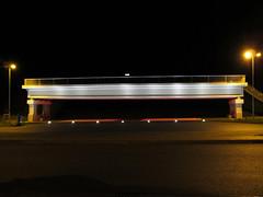 Rest area 'Vellern' - Bridge (.patrick.) Tags: lighting bridge night dark concrete motorway nacht parking illumination autobahn freeway brcke parkplatz a2 dunkel restarea beleuchtung beton raststtte servicearea rastanlage vellern