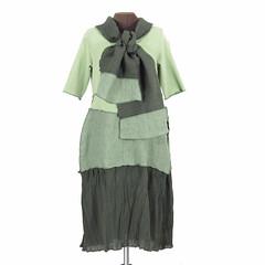MossBoss: reconstructed dress and scarf in multiple greens (Secret Lentil) Tags: green scarf moss dress recycled linen deconstructed reconstructed ecofashion secretlentil