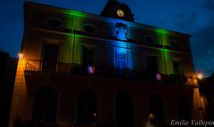 Typical southern city hall (Lalykse) Tags: blue green clock night cityhall motto vert bleu townhall horloge 1855 nuit mairie hôteldeville devise nikond3200 républiquefrançaise frenchrepublic roujan libertyequalityfraternity