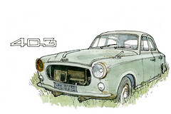 Peugeot 403 (gerard michel) Tags: auto car sketch aquarelle watercolour peugeot croquis