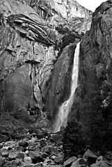 Lower Yosemite Falls (Webfoot5) Tags: california bw geocaching yosemite drought yosemitenationalpark