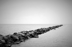 The Divide. (Wilickers) Tags: canon eos 60d black white photography lake water rocks minerals shore monochrome canada ontario toronto minimalist rough texture horizon