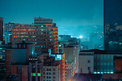 Joburg (elsableda) Tags: night urban city buildings architecture brutalist johannesburg joburg southafrica jozi elsa bleda dystopia nightscape cityscape lights light mist misty winter rooftop