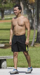 Man in Park (LarryJay99 ) Tags: guy florida man dudes outside haverhillpark men guys westpalmbeach male dude shirtless chest legs face candid unsuspecting navel navels belly shorts arms pits