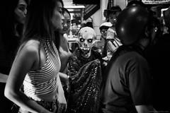 Saigon nightmares (jrockar) Tags: streetphotography documentary photography street halloween mask dress dead zombie bw mono blackandwhite people festive saigonhochiminh city urban canon 5d mk mark iii 3 l candid moment instant snap shot decisive scary terrifying undead vietnam ordinarymadness jrocka janrockar idiot oncearoundthesun 2470 28 f28 ii