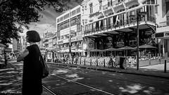 Waiting, Rembrandtplein Amsterdam (soundmoods) Tags: amsterdam lady street town waiting blackandwhite blackwhite city netherlands