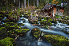Old Watermill. (Rudi1976) Tags: watermill cottage cabin forest woodland nature salzburgerland mountain tree stream water freshness environment greencolor landscape moss flowingwater leaf autumn austria salzburg remote stone boulder mountainstream outdoors horizontal river wheel europe buildstructure architecture traveldestinations ruralscene obsolete antique history outdoor creek waterfall
