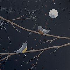 Eternal Conversation (Natasha Newton Art) Tags: natashanewton birdart stars constellations night nightsky moon fullmoon friendship love nature trees birdsong birds acrylic canvas art painting contemporaryart