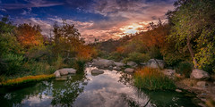 At The Dimming Of The Day (Calpastor) Tags: water creek river pond mountains hills sunset sky clouds colors fall orange blue green october california drought rain visalia tulare porterville springville rocks peaceful peace tranquility quiet heaven