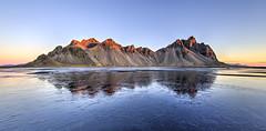 Icy Reflection of Vestrahorn (Nick L) Tags: vestrahorn vesturhorn iceland ice southerniceland hofn reflection landscape seascape dawn blue stokksnes canonef1124f4l