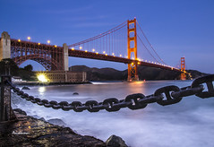 Golden Gate in Chains :O (Anishkumar Sugumaran) Tags: golden goldengate sanfrancisco california sea seascape nature architecture starburst chains ghost white clear sky waves landscape landmark blue red sunrise mornings morning