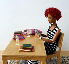 Looking for Christmas gifts online. (MINIMAGINE) Tags: blackbarbie barbiemadetomove barbie barbiemtm dollcollector diorama
