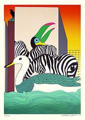 Gull, toucan and crow (Japanese Flower and Bird Art) Tags: bird gull laridae toucan ramphastos ramphastidae crow corvus corvidae go yayanagi modern screenprint print japan japanese art readercollection