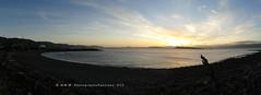158. DUSK PANORAMA: Fitzroy Bay Sunset (www.YouTube.com/PhotographyPassions) Tags: sky cloud outdoor sunset beach ocean sea seaside marina silhouette dusk twilight hills seashore coast coastal marine seascape landscape cloudy silhouettes panorama