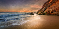 O, Let Me Ne'er Forget (Calpastor) Tags: seascape shoreline coastline coast sea ocean beach water waves rocks sunset landscape travel gold sand clouds
