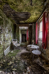 take a seat (richter christian) Tags: abandoned abstract back bio chair chairs corridor decay door exploring forgotten green hotel indoor life moss nature old plants room urbex window