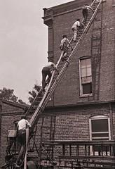 Firemen of Engine Co. 8 taking the hose to the roof ca1922 LOC31327u (SSAVE w/ over 6.5 MILLION views THX) Tags: washingtondc dcfd enginecompanyno8 firetraining 1922