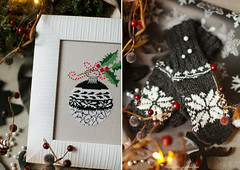 Holiday season (Yulchonok) Tags: crossstitch 50mm december diptych acufactum mittens black cozy christmas
