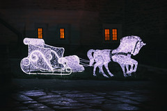 Horse and Carriage (A Great Capture) Tags: agreatcapture agc wwwagreatcapturecom adjm ash2276 ashleylduffus ald mobilejay jamesmitchell toronto on ontario canada canadian photographer northamerica torontoexplore night dark nighttime horse carriage horseandcarriage christmas lights casaloma decor decorations
