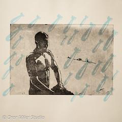 Screen Print on Etching (Dror Miler) Tags: screen printing screenprinting screenprint etching traditionalprint man male shirtless nude nudemale bomb bombs rain drormilerstudio drormiler printmaker