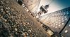 ...Meeting... (7H3M4R713N) Tags: fujifilm xt1 fisheye 8mm rokinon8mmf28 switzerland swiss neuchâtel tower fuji onthefloor depthoffield silouhette person bridge 45° unconventional manualfocus manuallens manual romandie