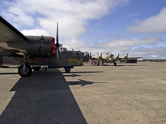 B-24 and B-17 pre Flight (Argon's Art) Tags: historic b17 sonomacounty 909 dday witchcraft b24 vintageaircraft collingsfoundation b24witchcraft historicaircraft sonomajetcenter b17909