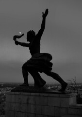 """Progress"" Statue (Rodney A. Johnson) Tags: blackandwhite bw sculpture 120 film statue mediumformat hungary budapest streetphotography progress scala epson 6x7 agfa rodinal pest 200x prometheus expiredfilm filmphotography mamiya7 sekonic gellrthill v750 80mmplanar agfascala200x l778"