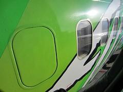 Alaska Airlines N607AS (kenjet) Tags: green window closeup cabin sfo soccer boeing arrival 737 portlandtimbers alaskaairlines fuselage livery ksfo 737700 as 737790 n607as