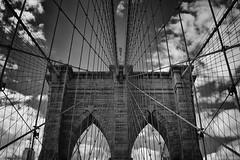 Brooklyn Bridge, New York (rupjones) Tags: new york bridge bw brooklyn geometry bricks wires