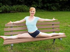 Stretch on a Park Bench (Shar Ka) Tags: yoga exercise fitness stretching chakra core asana shakti flexibility kundalini monkeypose hatha abdominals vitality ashtanga yogapose vinyasa yogapractice yogasplit yogaforflexibility vision:people=099 vision:face=099 vision:beach=0572