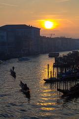 Sunset over the Grand Canal from the Rialto Bridge (ljology) Tags: venice sunset italy orange water canal mediterranean romance gondola venezia grandcanal rialto sanmarco doge stmarkssquare dorsoduro zattere canon60d