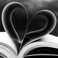 Silent lucidity (Lumase) Tags: bw love monochrome contrast square book heart affection pages edge conceptual symbolic heartshaped margins bookpages lovesymbol
