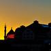 Sonnenuntergang über der ehemaligen Zigarettenfabrik Yenidze und den alten Speichern